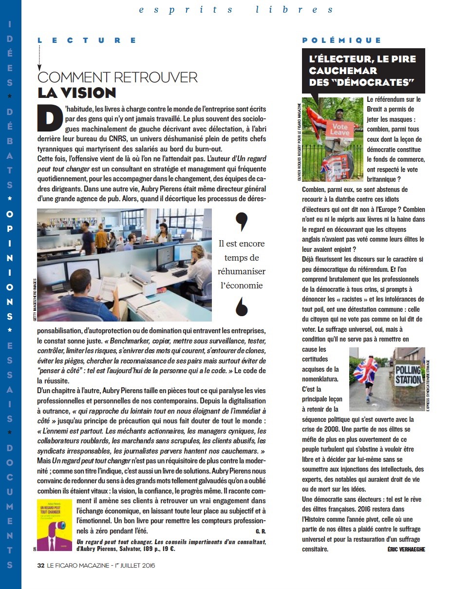 Figaro Magazine Un regard peut tout .... Aubry Pierens